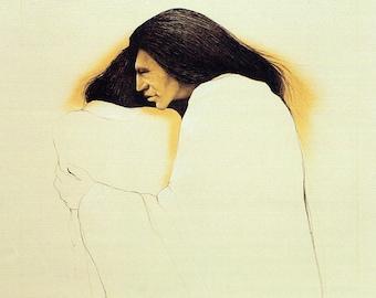 "Frank Howell ""SISTERS"" Two Women Hugging 8""x10"" Native American Print, Drawing, Art Print, Illustration, Wall Decor"