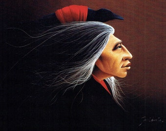 """Frank Howell """"CROW OWNER"""" Woman with Crow 8""""x10"""" Native American Print, Drawing, Art Print, Illustration, Wall Decor"""