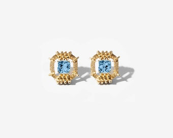 Solid 14K gold earrings with topaz