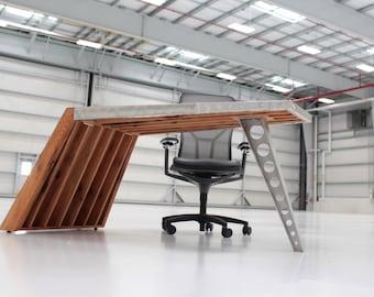 Aviator Wing Desk Airfoil Desk Oak Aluminum | World War I Aviator Inspired  Desk Airplane Desk Aviation Furniture