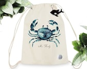 BackPack Kids - MR.FRANKY - 100% Organic Cotton - Unisex - Watercolor Handpainted - Whale Toy included