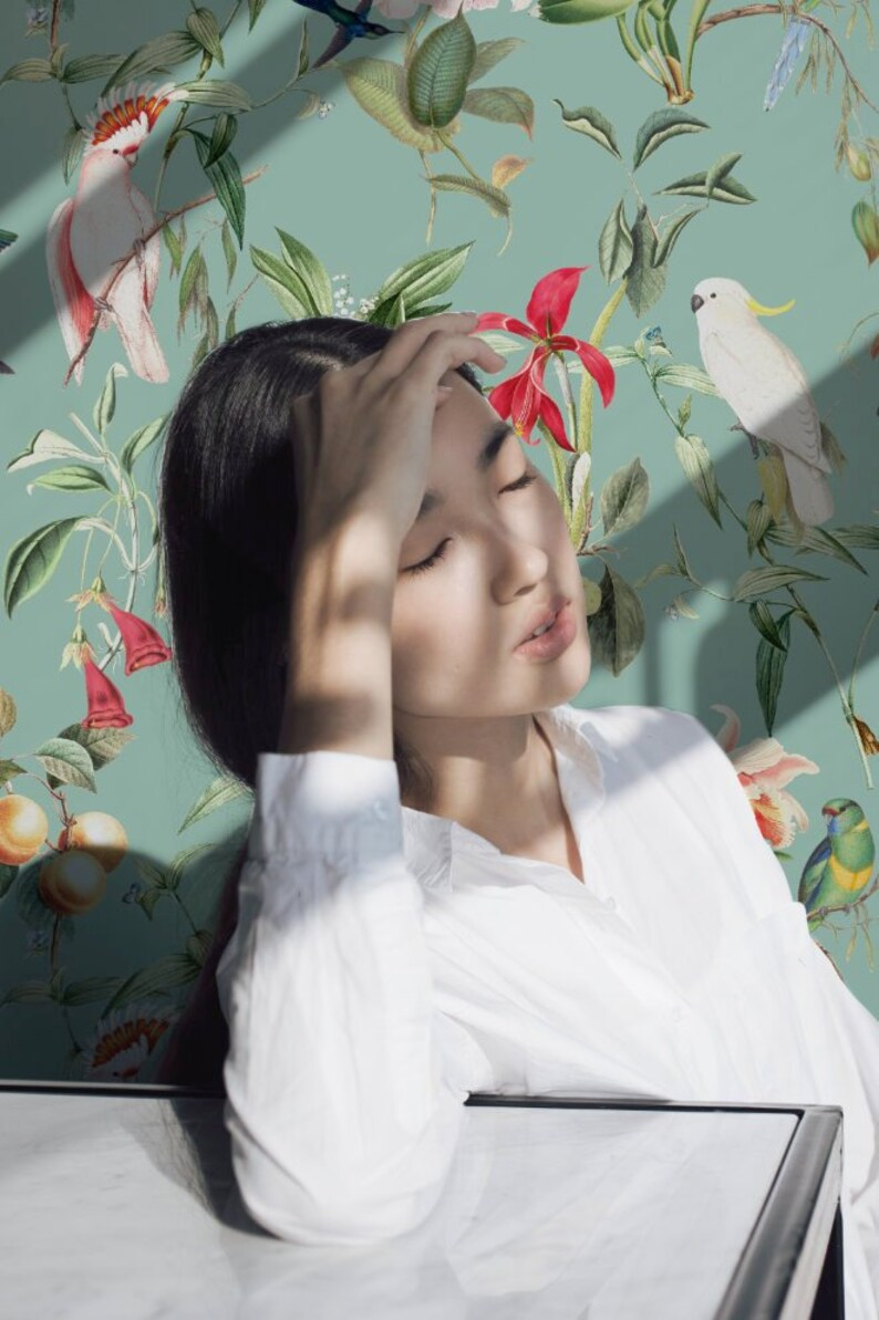 Unique design premium quality Wallpaper BIRDS OF PARADISE sea mint