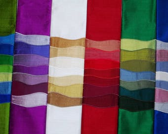 Waves of Worship Clergy Stole -custom handmade to order stole on purple, spring green, white, red, emerald or blue dupioni silk