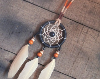 Dreamcatcher Feather Necklace in Warm Colours