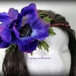 Purple Hair Crown, Flower Hair Crown, BoHo Hair Crown, Wedding Hair Crown, Purple Flower Halo, Fairy Flower Crown