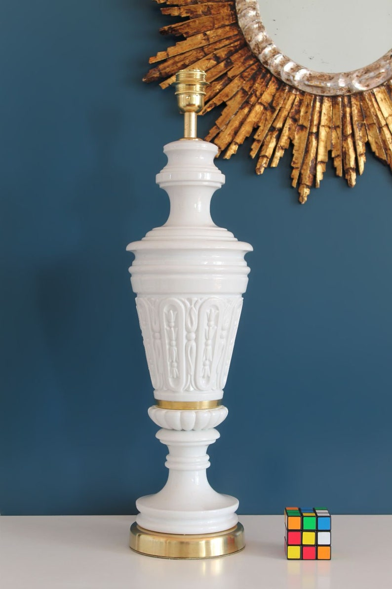 Large Porcelain Lamp Base White Porcelain And Brass Fittings Mid Century Vintage 50s 60s
