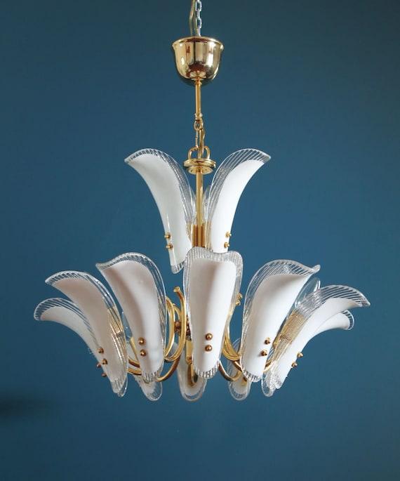 de doradoVintage latón chandelier 80sPareja y 2 techohojas Lámpara MURANO disponible cristal 1 de años de 3A5LS4Rcqj