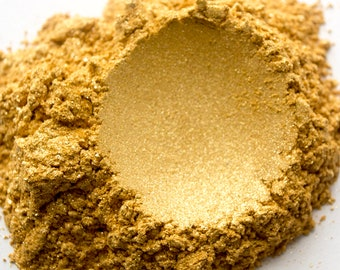 Caribbean Gold Mica Powder, Bath Bombs, Soap Making, Highlighter for Face, Eyes, & Body, Nail Polish. A Cosmetic Mica Pigment, 5 Grams, 1 oz