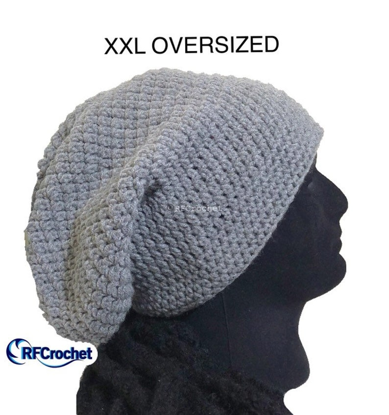 8443b0604 XXL Heather Gray Oversized Beanie, Large Hat Size, Men, Women, Big Head,  Thick Hair, Dreadlocks, Long Hair, Locs, Authentic Handmade