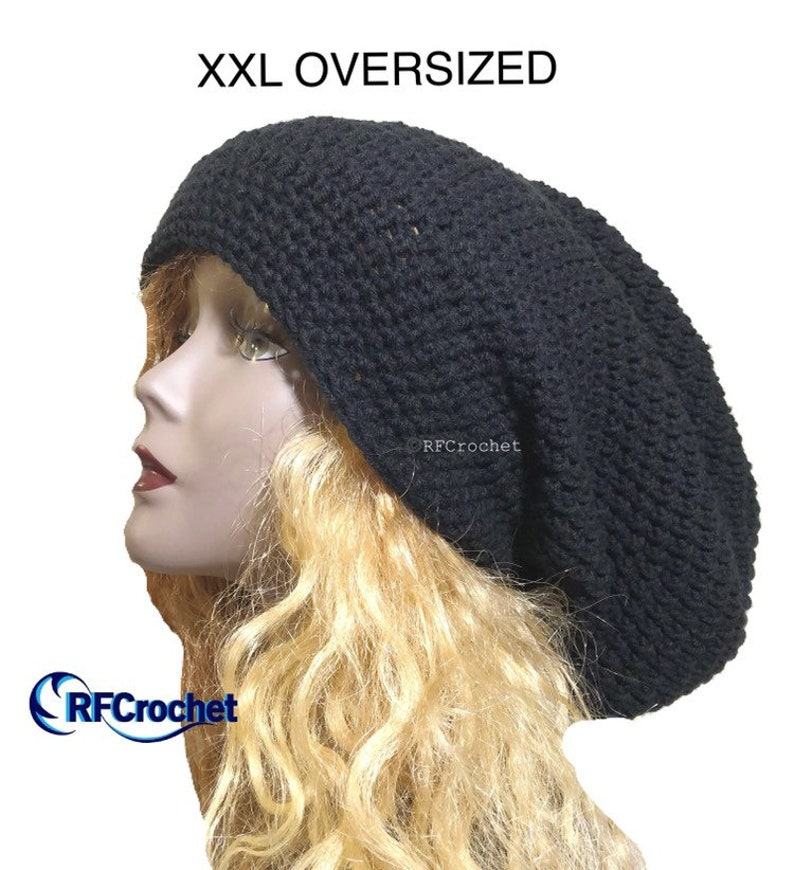 XXL Black Slouchy Beanie Oversized Large Hat Size Secure  30a977abb02