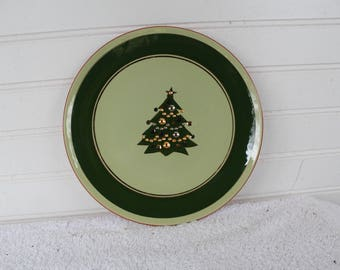 Christmas tree, Stangl 8 1/4 plate, Jewelled Tree, Stangl Pottery Trenton, NJ, 1956-69, lunch plate, Holiday china, Hand painted