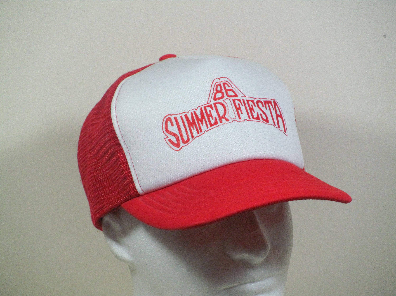 5196d1179 Vintage 1986 Summer Fiesta Snapback Mesh Trucker Hat Baseball Cap Red and  White