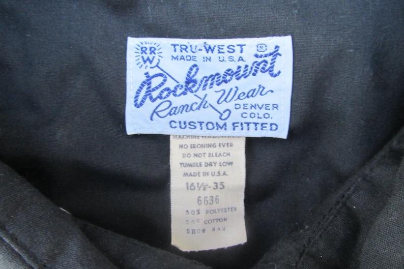 Vintage Rockmount Western Shirt Mens Size L Custom Fitted 16.5 neck, 35 sleeve Tru-West Made in USA cowboy Black