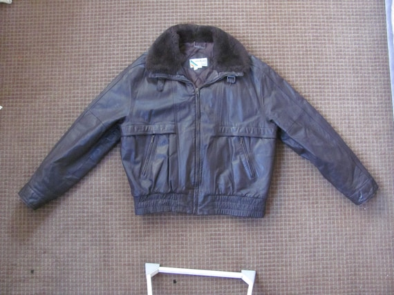 Vintage Members Only Brown Leather Bomber Jacket M