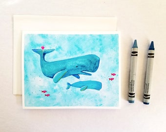 Whales card set. Set of 6 or 12 cards. New baby cards set. Expectant mom gift. New mom gift. Baby shower thank you cards. Mom and baby cards