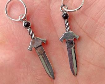 Onyx & Silver Dagger Earrings, Handmade