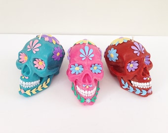 Day of the Dead Skull Candle, Blue, Handmade