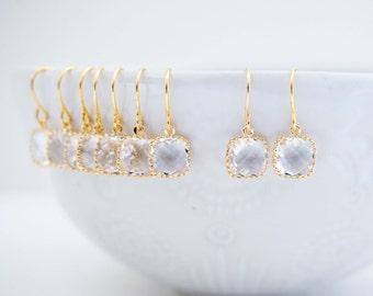 Crystal Square Gem Earrings | Bridesmaid Earrings | Wedding Jewelry | ECG9, ECS9