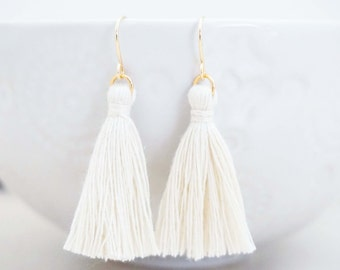 Cream White and Gold Tassel Earrings