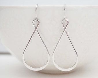Silver Twist Teardrop Earrings