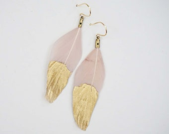 Pale Pink and Gold Feather Dipped Earrings