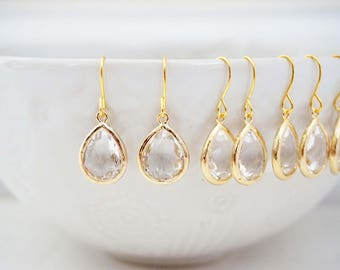Crystal Teardrop Gem Earrings | Bridesmaid Earrings | Wedding Jewelry | ECG1, ECS1, ECRG1