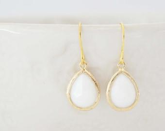 White Gem Teardrop Earrings | Bridesmaid Earrings | Wedding Earrings | EWG1, EWS1