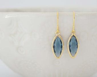 Blue Marquis Gem Earrings | Bridesmaid Earrings | Wedding Jewelry