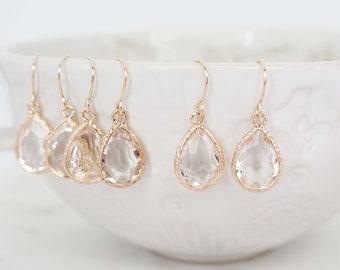 Crystal and Gold Textured Teardrop Gem Earrings | Bridesmaid Earrings | Wedding Jewelry | ECG13