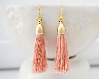 Peach Blush and Gold Tassel Earrings