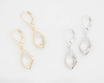 Crystal Teardrop Gem Lever Back Earrings | Bridesmaid Earrings | Wedding Jewelry | ECG8, ECS8