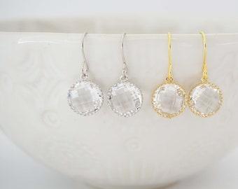 Crystal Circle Gem Earrings | Bridesmaid Earrings | Wedding Jewelry | ECG18, ECS18