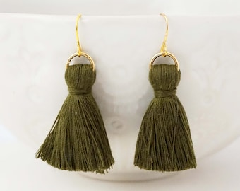 Olive Green and Gold Chunky Tassel Earrings