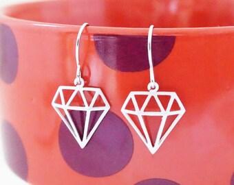 Matte Silver Geometric Diamond Earrings