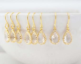 Dainty Crystal Gem Teardrop Earrings | Bridesmaid Earrings | Wedding Jewelry | ECG2, ECS2