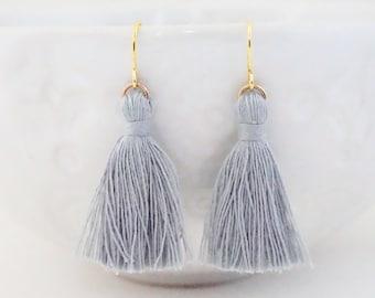 Light Grey and Gold Tassel Earrings