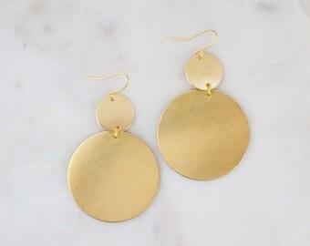 Brushed Gold Geometric Double Circle Earrings