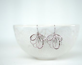Contemporary jewellery P0060 PIVOINE Handcrafted jewellery Gift for Her Silver fan earrings