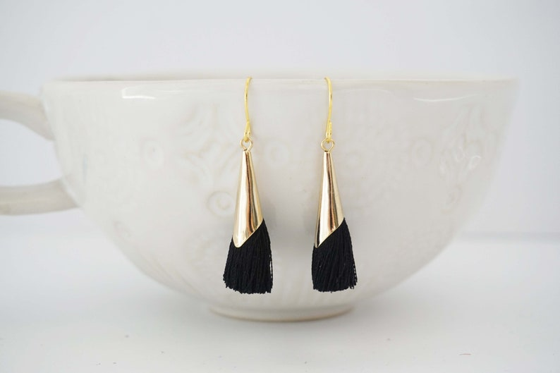 Black Tassel and Gold Cone Earrings