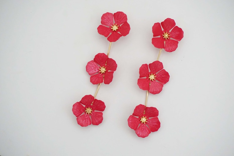 Hot Pink Triple Flower Statement Post Stud Earrings image 0