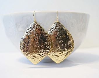 Hammered Gold Pendant Earrings