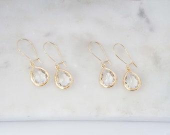 Crystal Teardrop Gem Hoop Earrings | Bridesmaid Earrings | Wedding Jewelry | ECG1, ECS1, ECRG1