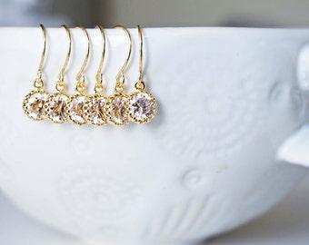 Dainty Mini Champagne Gem Earrings | Bridesmaid Earrings | Wedding Jewelry | ECHPG4, ECHPS4