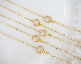 Champagne Circle Gem Bracelets | Bridesmaid Bracelets | Wedding Jewelry | BCHPG1, ECHPS1