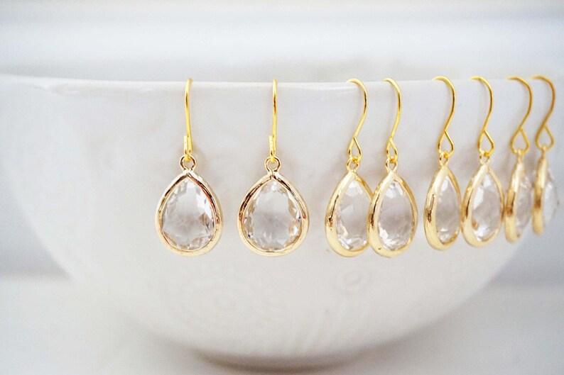 Crystal Teardrop Gem Earrings  Bridesmaid Earrings  Wedding image 0