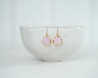 Light Pink Teardrop Earrings | Bridesmaid Earrings | Wedding Jewelry | ELPKG9, ELPKS9
