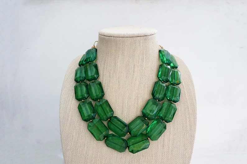 Emerald Green Faceted Gem Statement Necklace image 0