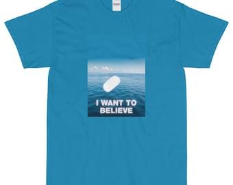 I Want To Believe UAP Tic Tac UFO Aliens Short Sleeve T-Shirt