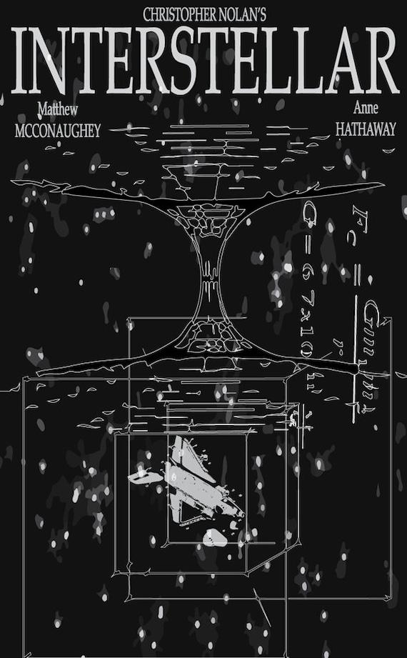 Interstellar Movie Poster Tesseract Wormhole Illustration Etsy