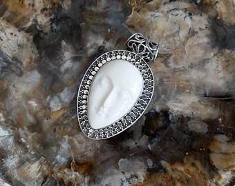 Sterling Silver Balinese Bone Goddess Pendant